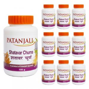 Шатавари Чурна Патанджали (Shatavar Churna Patanjali), 10 упаковок по 100 грамм